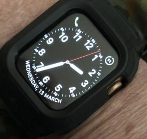 My Apple Watch Series 4 44mm on a Rhino Stealth band.